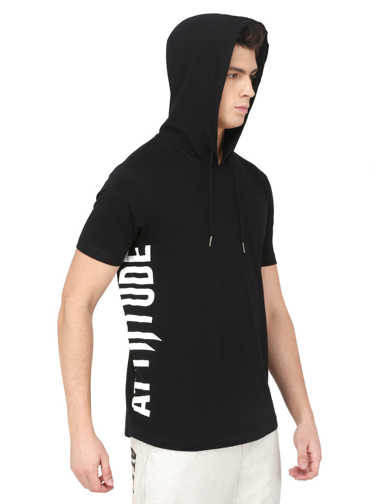 BLACK HOODED T-SHIRT WITH LOGO