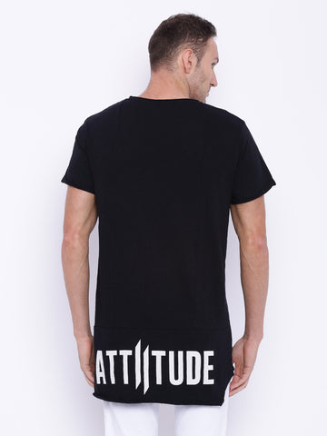 Attiitude Black Asymmetrical T-shirt