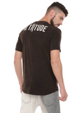 ATTIITUDE CUT-N-SEW PANEL FADED BLACK T-SHIRT.
