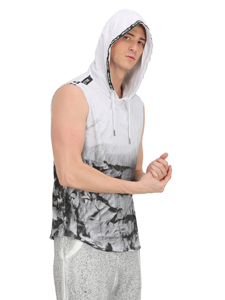 Washed White T-shirt with Printed Taped Hood.