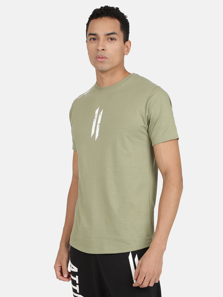 Attiitude Printed Double I Logo On Chest -Olive