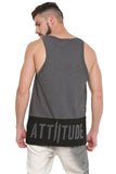 ATTIITUDE GREY VEST WITH PIGMENT PRINT AND CAP