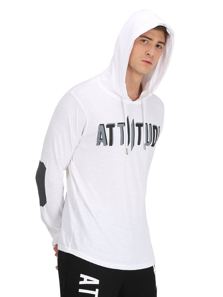 3D Logo Printed & Elbow Patch White Hooded T-Shirt