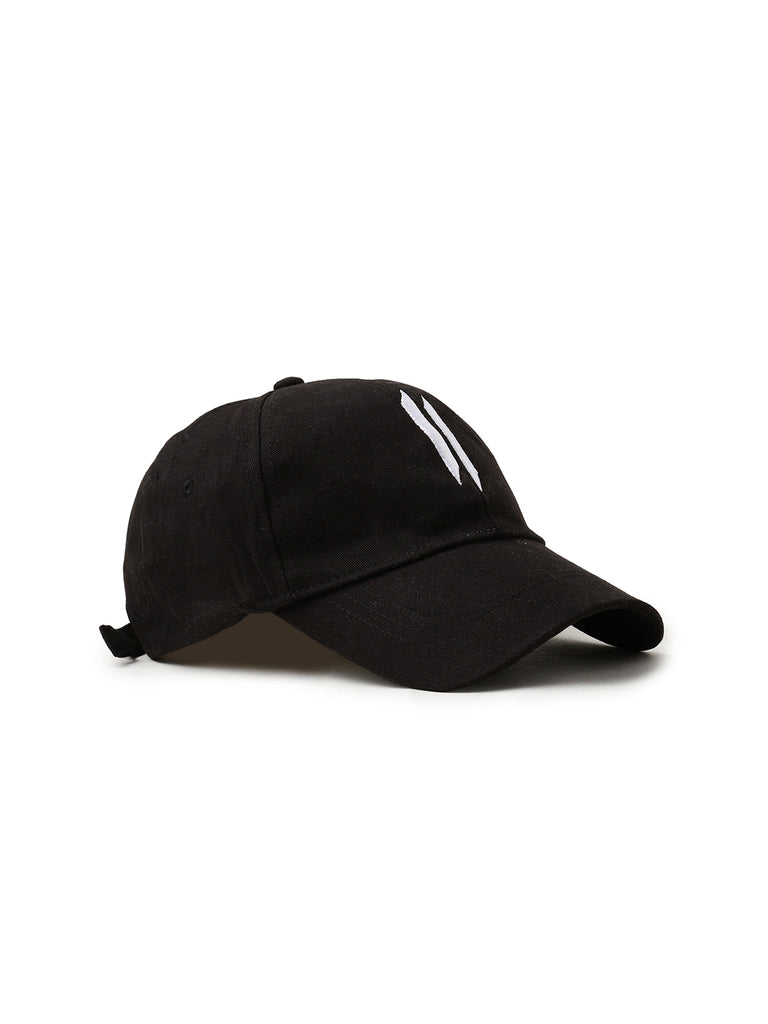 Black Color Front Double I Cap