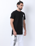 Attiitude Hollow HD Print Color-Block T-Shirt .