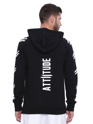 ATTIITUDE BLACK FRENCH TERRY HOODIES WITH RED ZIPPER