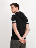 Black Hooded T-shirt with Contrast Printed Tape