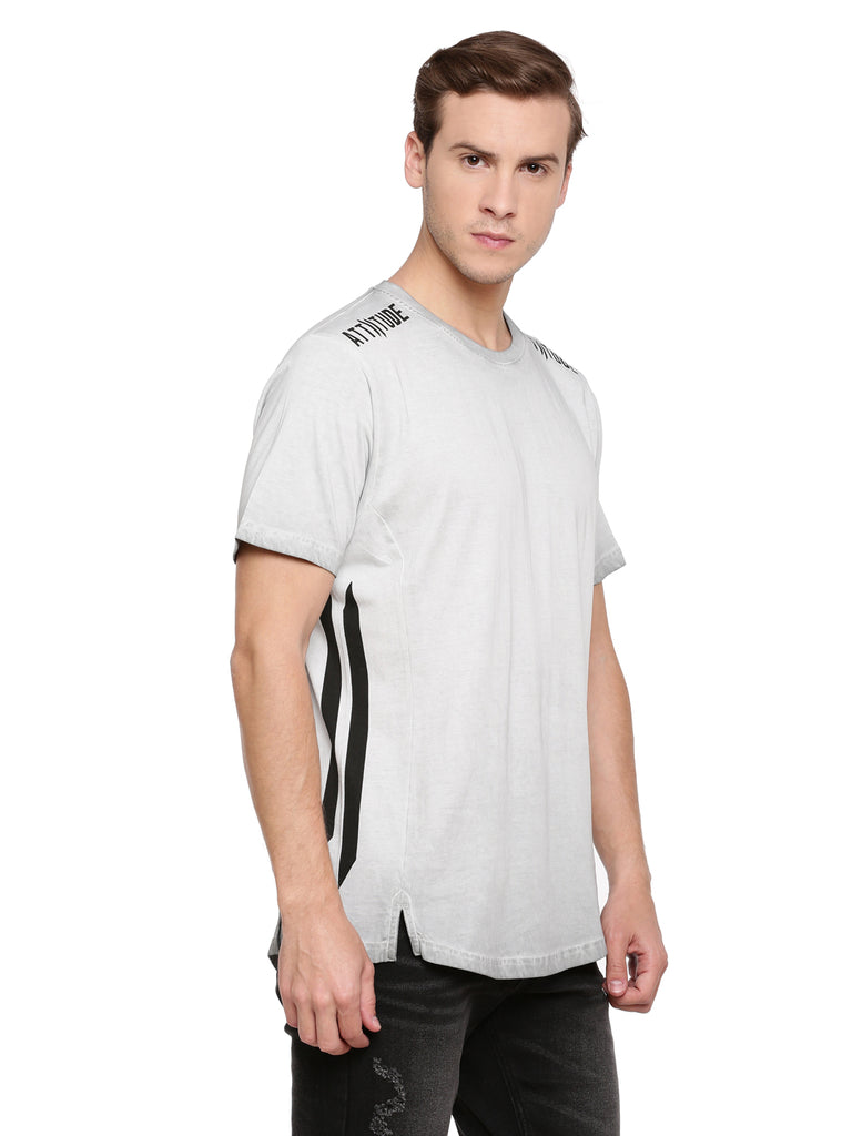 Attiitude Light Grey T-Shirt With Cut-N-Sew Panels