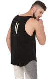 BLACK TANKTOP WITH RAW EDGE APPLIQUE DARK-GREY BEANIE
