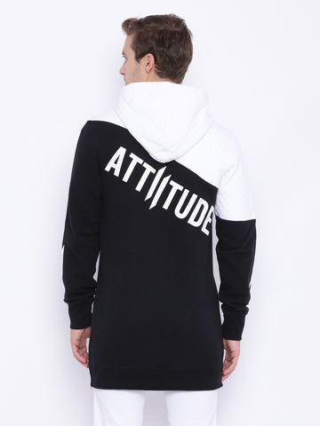 Attiitude White & Black Dual Tone Quilted long-line Hoodies