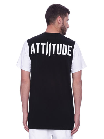 Attiitude black T shirt with white sleeves