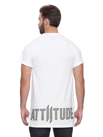 Attiitude White Raglan T-shirt with Bold Print