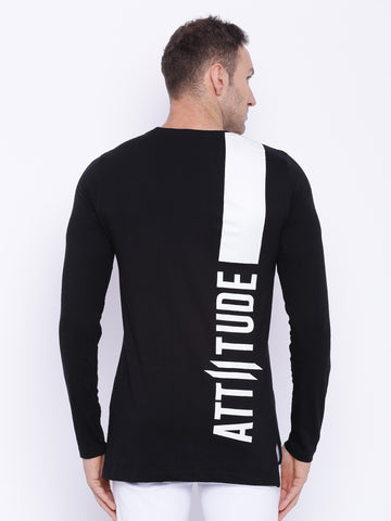 Attiitude Hollow Printed White Full Sleeve T-shirt