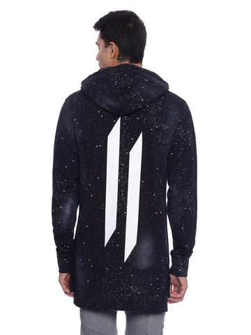 Attiitude Black Hoodies with pigment splatter