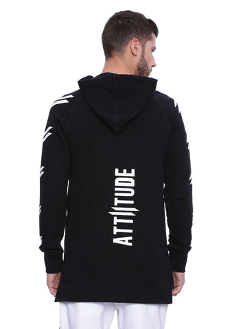ATTIITUDE BLACK FRENCH TERRY long line HOODIES WITH RED ZIPPER