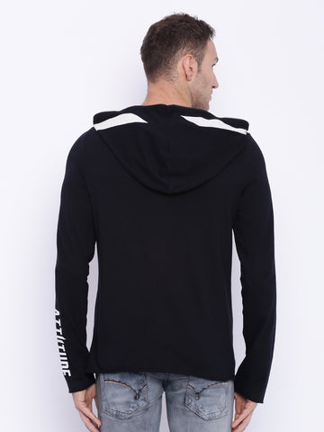 Attiitude Black Full Zipper  Hooded T-shirt