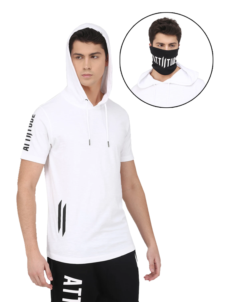 WHITE HOODED TSHIRT AND BLACK MASK
