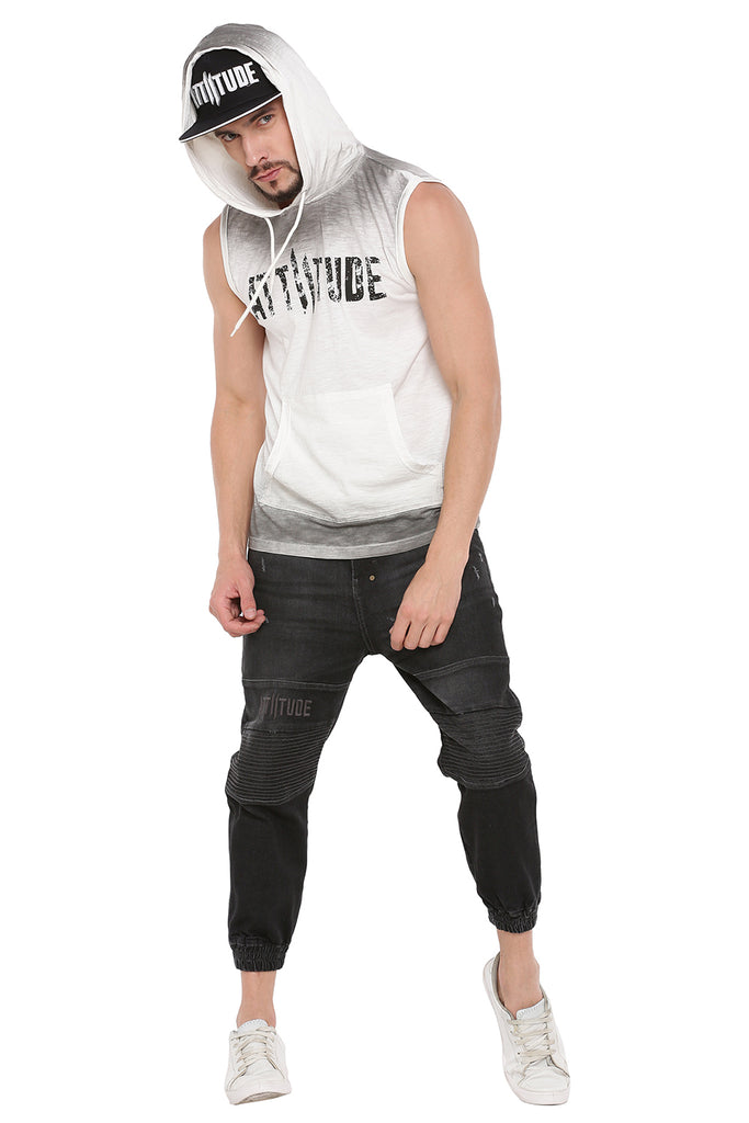 ATTIITUDE WHITE SLEEVELESS HOODIE WITH SPRAYAND CAP