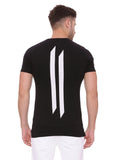 Attiitude Regular Hem Black T Shirt With Crack Print