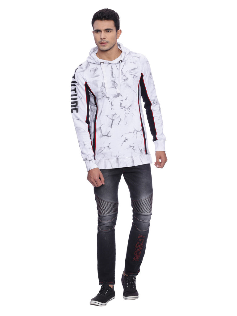Attiitude panelled hoodie with tie and die treatment