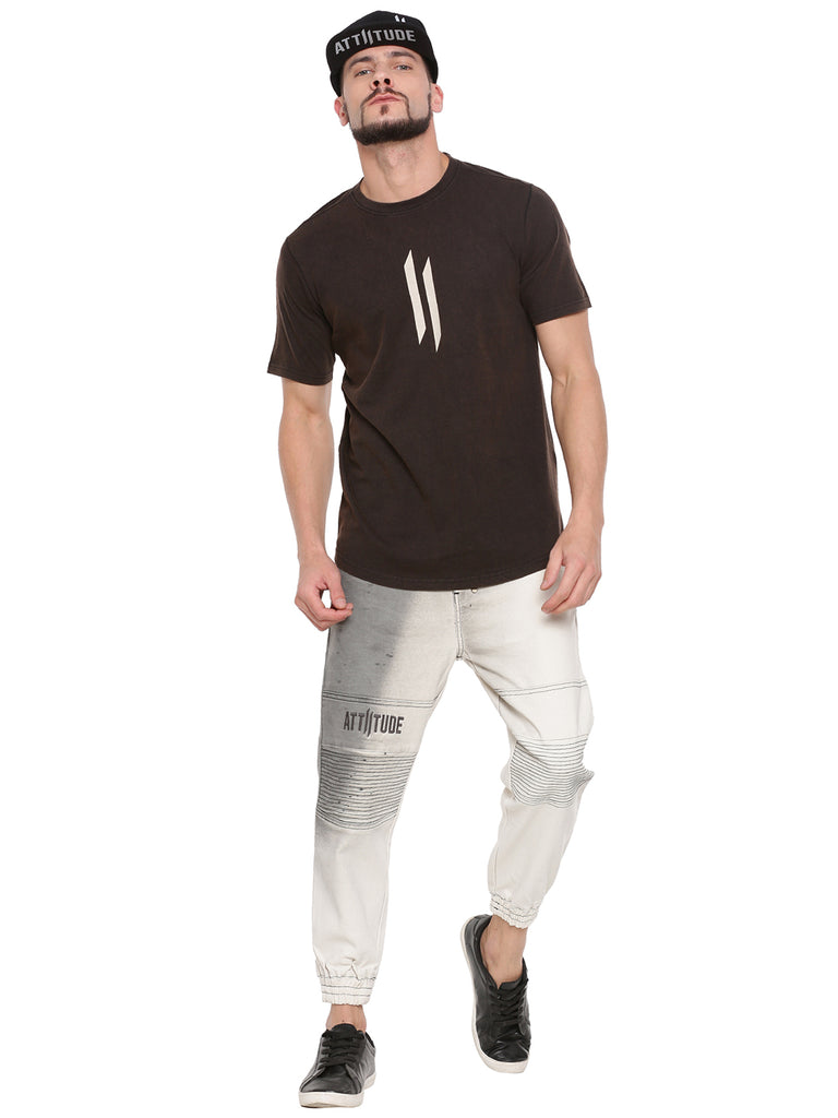 ATTIITUDE FADED BLACK T-SHIRT WITH LOGO ON CUT-N-SEW PANEL