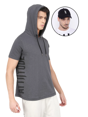 GREY HOODED T-SHIRT AND BLACK CAP