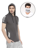 GREY HOODED TSHIRT AND MASK