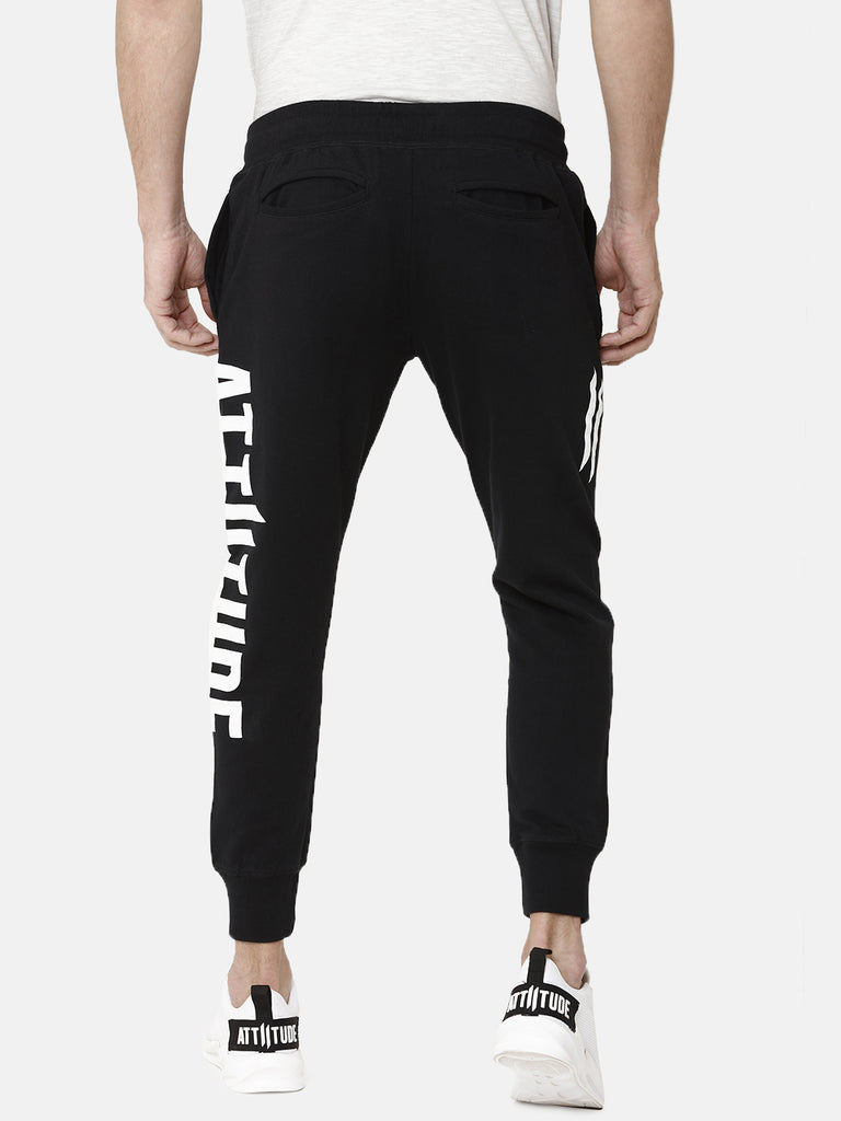 Black Slim Fit Jogger With Logo Print