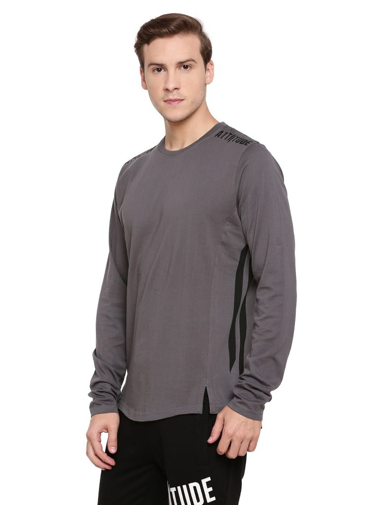 Attiitude Dark Grey Full Sleeve T-Shirt With Cut-N-Sew Panels