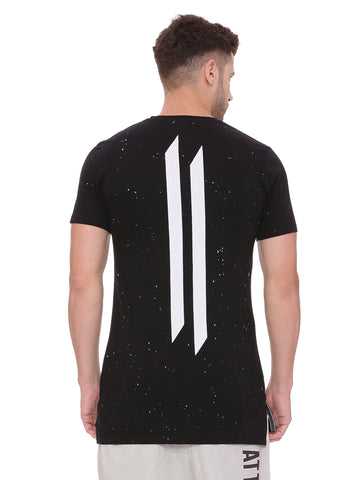 Attiitude Black Long Hem T shirt with spray wash