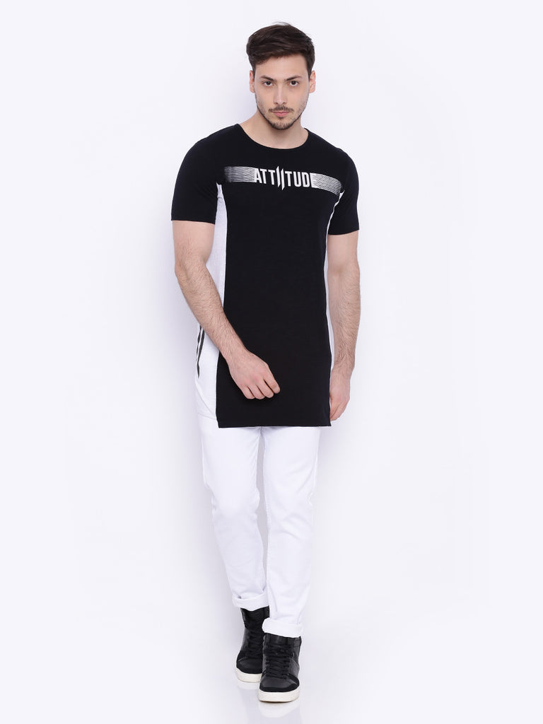 ATTIITUDE black T shirt with white side panels