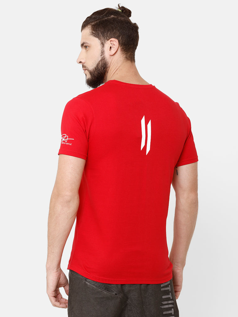 Attiitude Brand Logo Printed T-Shirt  Red