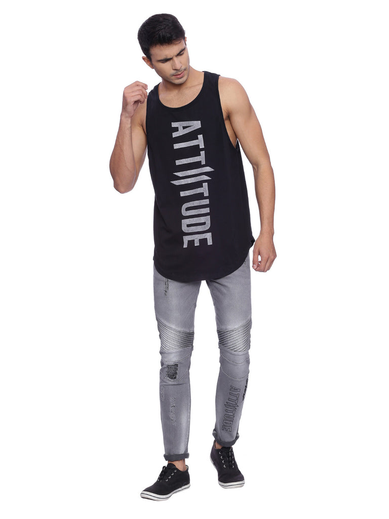 ATTIITUDE DISTRESSED DENIM WITH STITCHED DETAIL