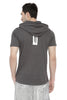 GREY MENS HOODED T-SHIRT WITH BLACK CAP