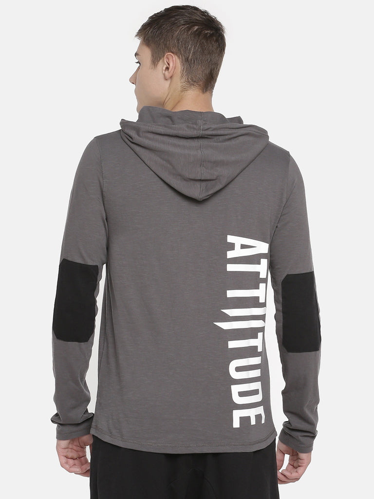 GREY HOODED T-SHIRT WITH LOGO PRINT ON FRONT AND BACK