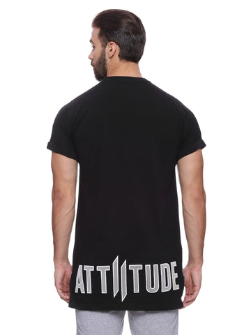 Attiitude Black  Raglan T-shirt with Bold Print