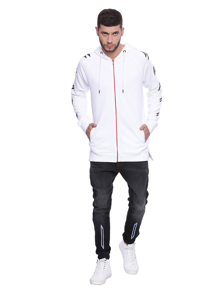 ATTIITUDE white FRENCH TERRY long line HOODIE WITH RED ZIPPER