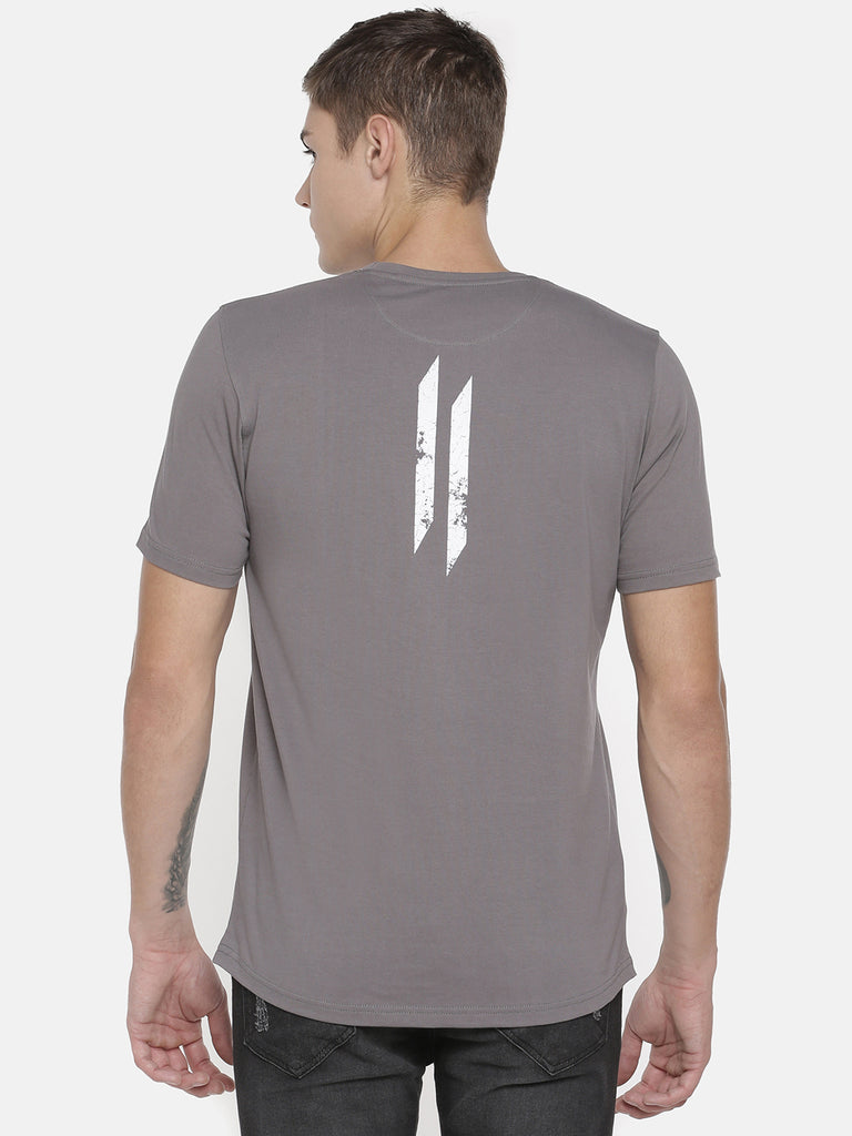 CHRIS GAYLE SIGNATURE COLLECTION GREY T-SHIRT WITH BRAND LOGO FLOK PRINT AND WHITE BEANIE