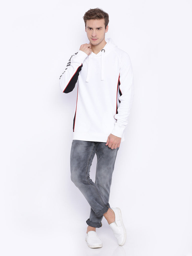 ATTIITUDE WHITE hoodie with red piping