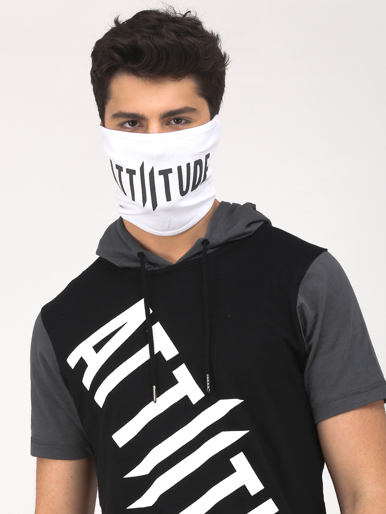 BLACK PUFF PRINT HOODED T-SHIRT WITH WHITE MASK