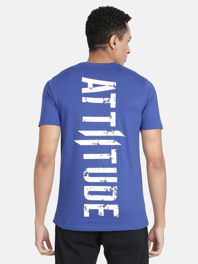 Attiitude Printed Double I Logo On Chest -Dark Blue