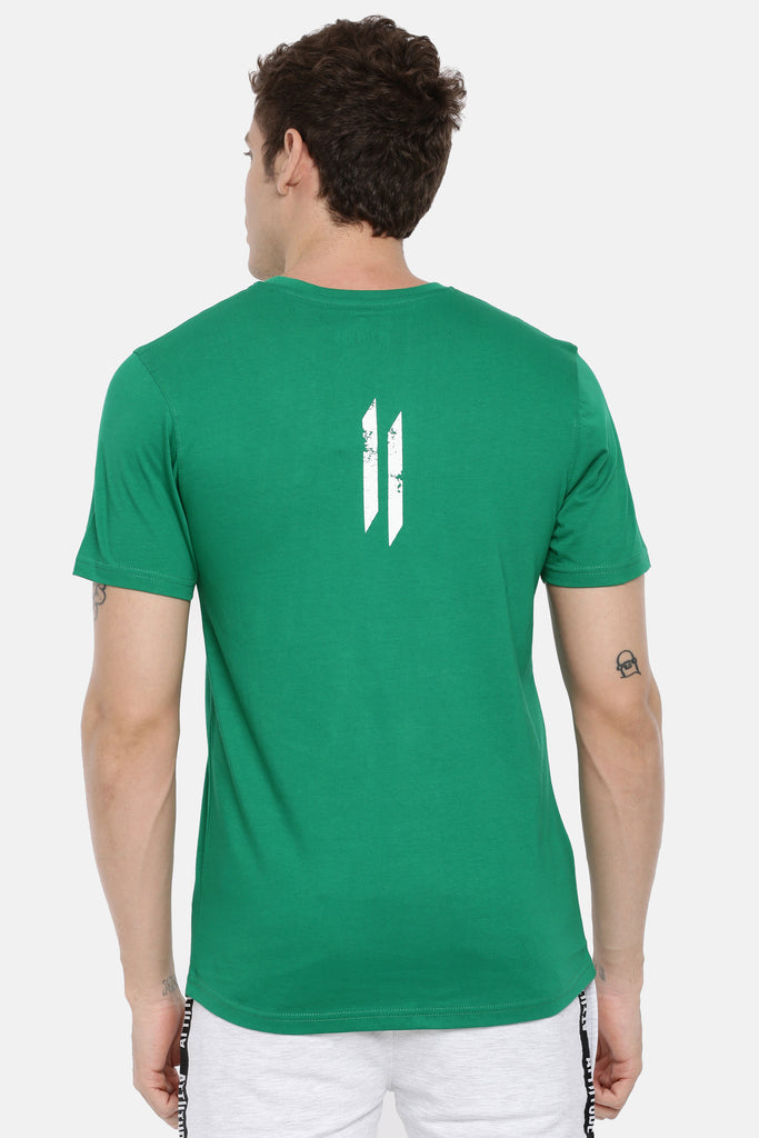 Attiitude Vertical Logo Printed T-Shirt  Green