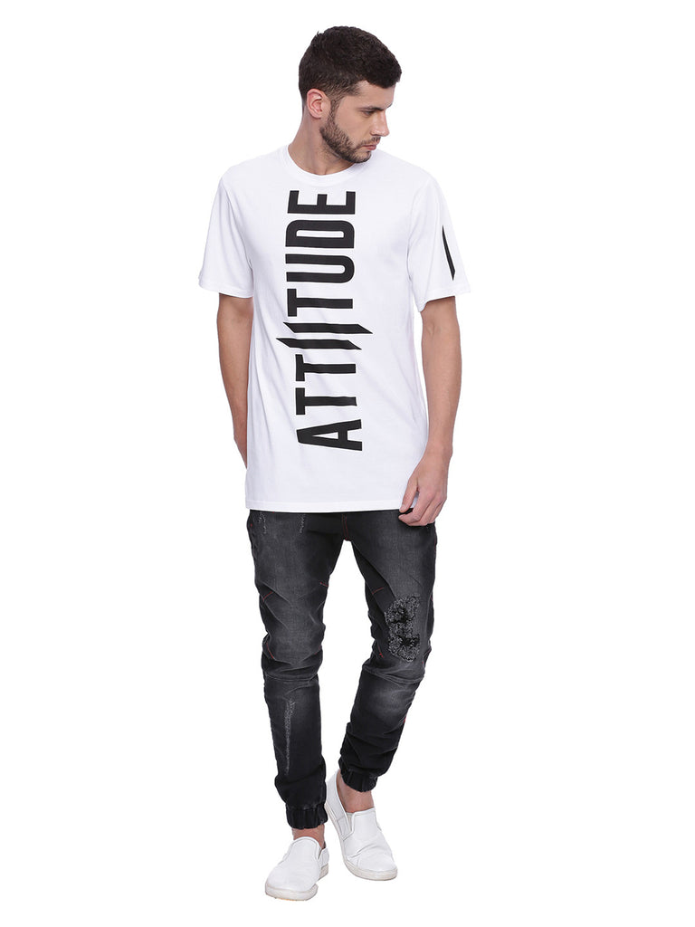 Attiitude Printed Zip-Fly Tonal stitched denim joggers