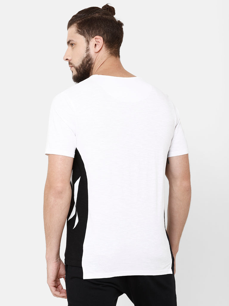 White T-Shirt With Black Stencil Printed