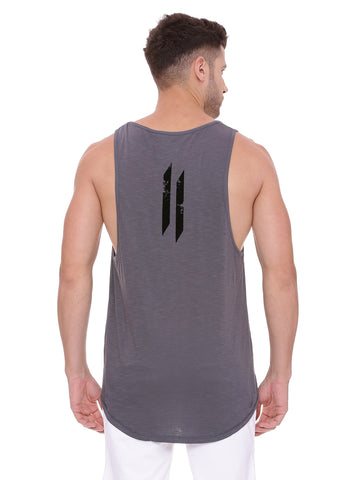 Attiitude Grey Tank Top with Black flock print