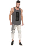 ATTIITUDE DARK GREY TANKTOP WITH RAW EDGE APPLIQUE