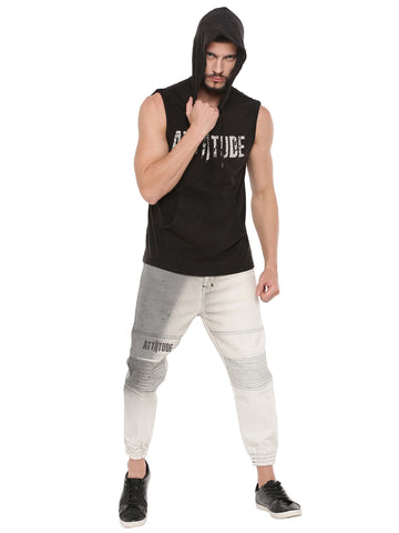 ATTIITUDE BLACK SLEEVELESS HOODIE WITH SILICON SOFTNER WASH