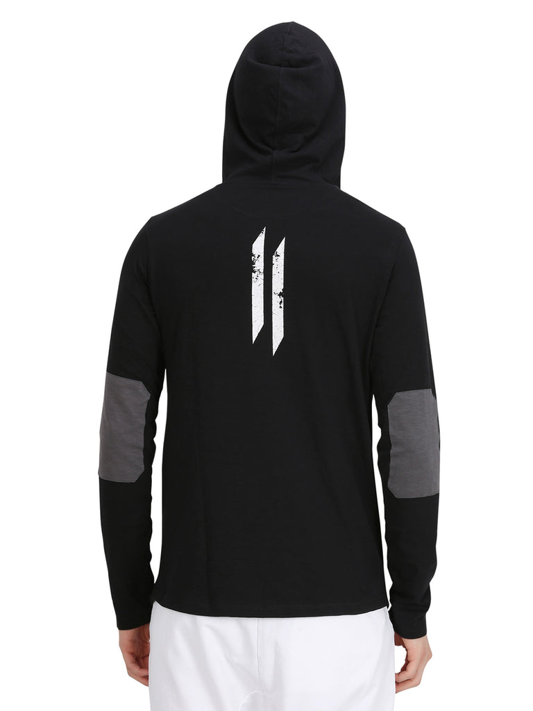 FLOCK PRINT BLACK HOODED T-SHIRT