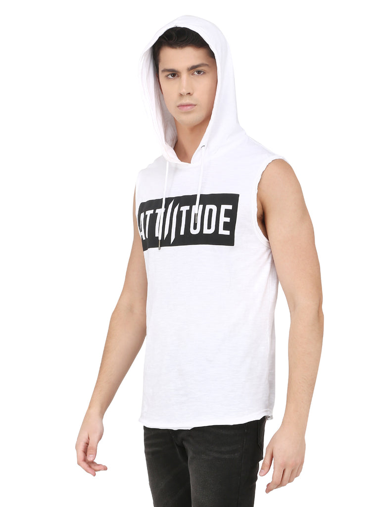 WHITE SLEEVELESS HOODED T-SHIRT WITH LOGO ON CHEST