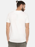 White T-Shirt With Printed Brand Logo On Sliver  Print